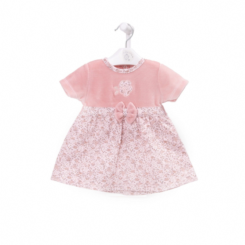 AV2404  Girls  Floral Dress with Velour Top